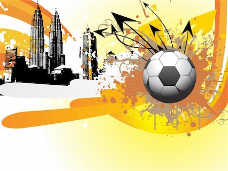swirl graphic score - skyscraper background with grungy soccer ball and arrows Stock Photo - Budget Royalty-Free & Subscription, Code: 400-04616404