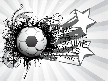 swirl graphic score - grunge, star and artistic design soccer ball with grey rays illustration Stock Photo - Budget Royalty-Free & Subscription, Code: 400-04616402