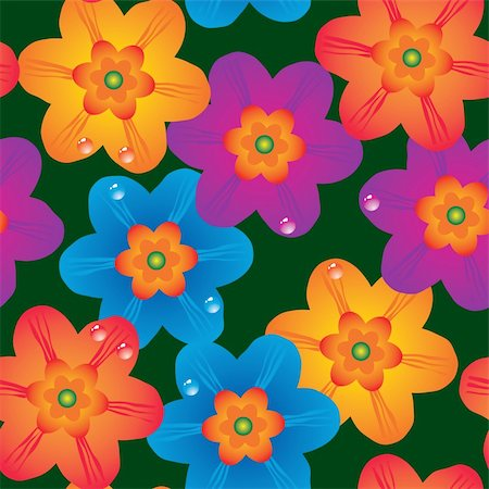flores - Abstract flowers background. Seamless. Multicolor palette. Vector illustration. Stock Photo - Budget Royalty-Free & Subscription, Code: 400-04618530