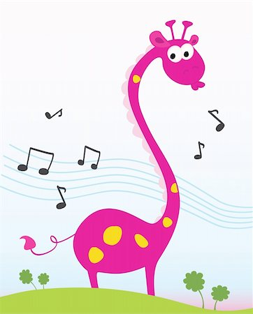 Funny jungle giraffe sing a song. Vector Illustration. Included high-resolution JPG and EPS. Stock Photo - Budget Royalty-Free & Subscription, Code: 400-04619456