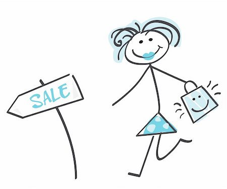 Loving sale! Doodle vector character. Stock Photo - Budget Royalty-Free & Subscription, Code: 400-04619656