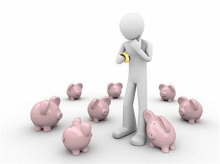 man making choice where to put savings holds coin in hands in the crowd of piggybanks Stock Photo - Budget Royalty-Free & Subscription, Code: 400-04610795
