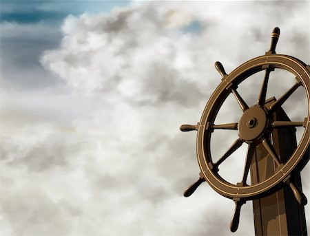 sailing boat storm - Illustration of a ships wheel at an oblique angle on a cloudy day Stock Photo - Budget Royalty-Free & Subscription, Code: 400-04612097