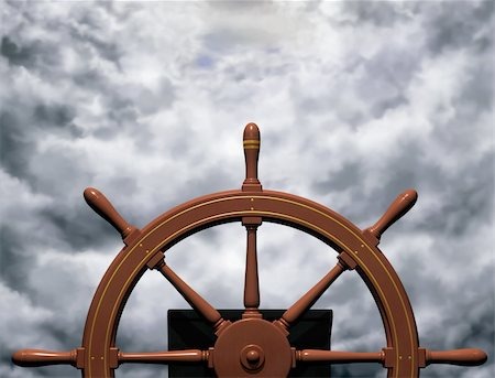 sailing boat storm - Illustration of a ships wheel steering a steady course through rough waters Stock Photo - Budget Royalty-Free & Subscription, Code: 400-04612098