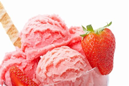 Delicious strawberry ice cream in glass bowl isolated on white background. Shallow depth of field Stock Photo - Budget Royalty-Free & Subscription, Code: 400-04612428