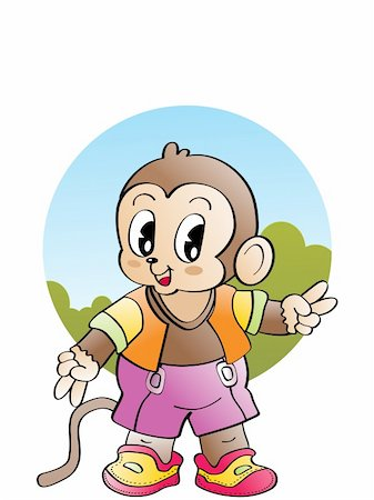 smiling chimpanzee - isolated cute monkey, vector wallpaper Stock Photo - Budget Royalty-Free & Subscription, Code: 400-04613062