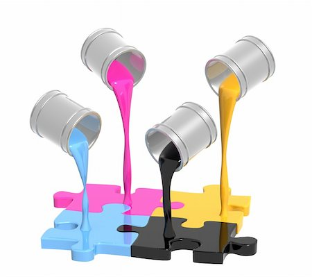 pouring paint art - Conceptual image - a palette CMYK. Objects over white Stock Photo - Budget Royalty-Free & Subscription, Code: 400-04613537
