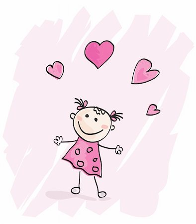Doodle cartoon character. Loving girl with hearts. Vector Illustration. Stock Photo - Budget Royalty-Free & Subscription, Code: 400-04613549