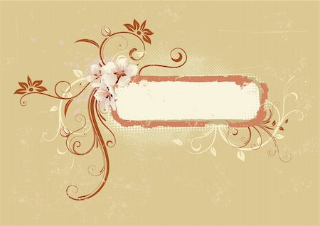 Vector illustration of Grunge Floral Decorative frame Stock Photo - Budget Royalty-Free & Subscription, Code: 400-04624102