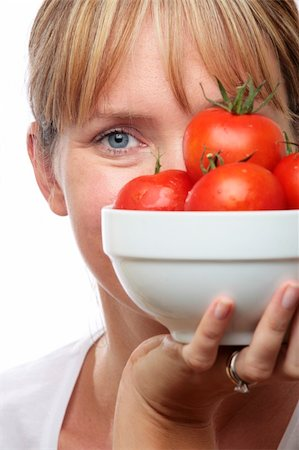 spanishalex (artist) - Woman holding a bowl of tomatoes up to her face Stock Photo - Budget Royalty-Free & Subscription, Code: 400-04624426