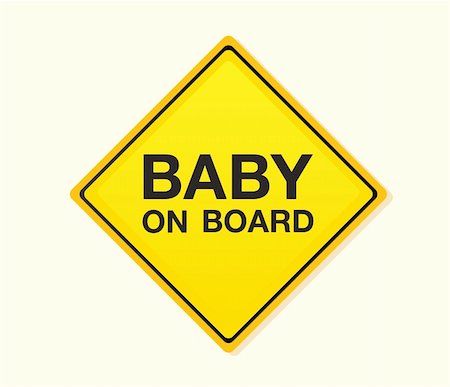 Baby on board! Yellow warning sign. Vector Illustration – easy to resize and change colors. Stock Photo - Budget Royalty-Free & Subscription, Code: 400-04624543