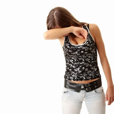 running away scared - Teen girl frighten, covering her face - abuse crime concept Stock Photo - Budget Royalty-Free & Subscription, Code: 400-04624848