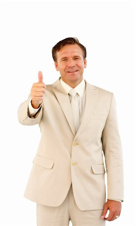 Senior business manager showing thumbs up and smiling Stock Photo - Budget Royalty-Free & Subscription, Code: 400-04624938