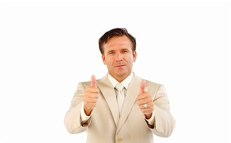 Mature businessman showing with both hands thumbs up Stock Photo - Budget Royalty-Free & Subscription, Code: 400-04624939