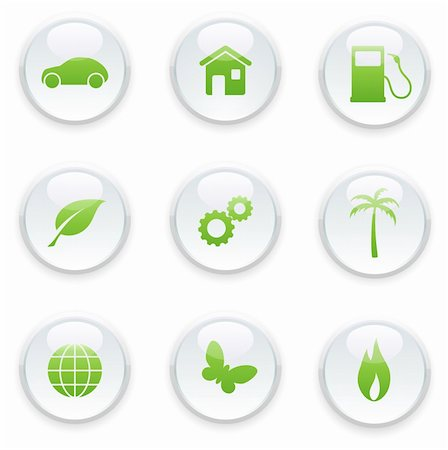 Vector illustration of green ecology icon set Stock Photo - Budget Royalty-Free & Subscription, Code: 400-04625610