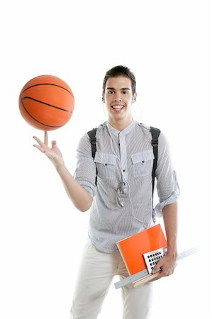 American look student boy with basket ball and notebook isolated on white Stock Photo - Budget Royalty-Free & Subscription, Code: 400-04627015