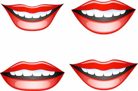 Vector images smiling female lips. Isolated on white. EPS 8, AI Stock Photo - Budget Royalty-Free & Subscription, Code: 400-04627259