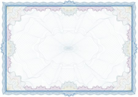 Classic guilloche border for diploma or certificate / vector Stock Photo - Budget Royalty-Free & Subscription, Code: 400-04627538