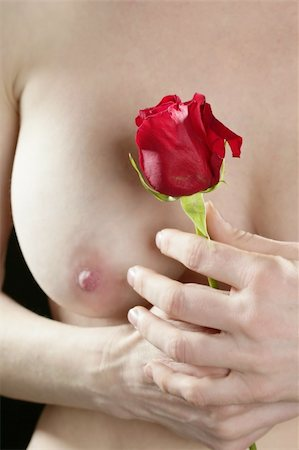 Beautiful woman body holding in hand a red rose Stock Photo - Budget Royalty-Free & Subscription, Code: 400-04629956