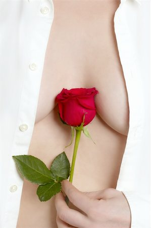 Beautiful woman body holding in hand a red rose Stock Photo - Budget Royalty-Free & Subscription, Code: 400-04629952