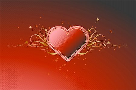 Vector illustration of shiny red heart shape with floral decoration elements Stock Photo - Budget Royalty-Free & Subscription, Code: 400-04620333