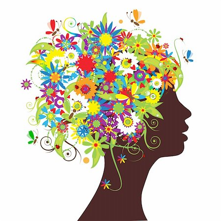 Floral head silhouette Stock Photo - Budget Royalty-Free & Subscription, Code: 400-04620456