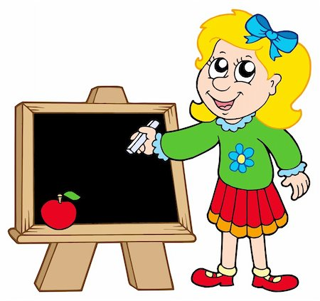 School girl writing on blackboard - vector illustration. Stock Photo - Budget Royalty-Free & Subscription, Code: 400-04620850
