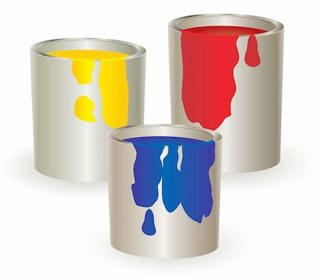 pouring ink vector - Three containers with yellow, red and blue paint. Vector illustration. Stock Photo - Budget Royalty-Free & Subscription, Code: 400-04622460