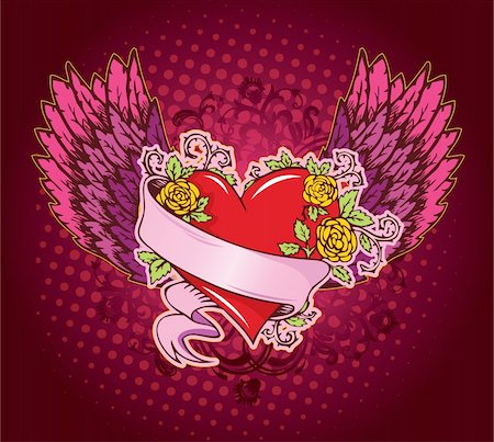Pink heart with wings, vector Stock Photo - Budget Royalty-Free & Subscription, Code: 400-04635581