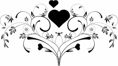 pretty in black clipart - a beautiful decorative floral heart pattern design Stock Photo - Budget Royalty-Free & Subscription, Code: 400-04636046