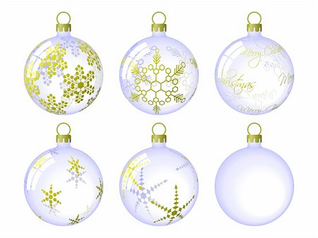 pretty backgrounds draw - Set of Christmas Baubles. Available in jpeg and eps8 formats. Stock Photo - Budget Royalty-Free & Subscription, Code: 400-04637949