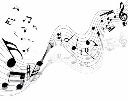 Vector musical notes staff background for design use Stock Photo - Budget Royalty-Free & Subscription, Code: 400-04630929
