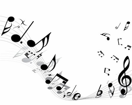Vector musical notes staff background for design use Stock Photo - Budget Royalty-Free & Subscription, Code: 400-04630931
