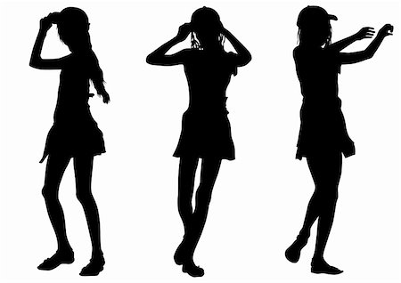 simsearch:400-04096935,k - Vector image of young girls. Silhouette on white background Stock Photo - Budget Royalty-Free & Subscription, Code: 400-04631282