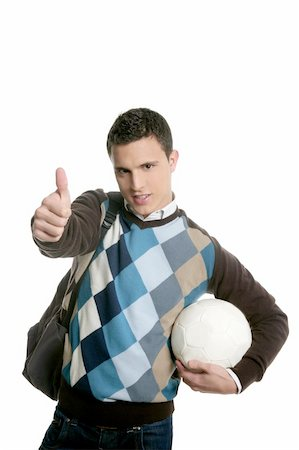 Happy young boy student with football ball isolated on white Stock Photo - Budget Royalty-Free & Subscription, Code: 400-04631499