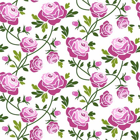 elakwasniewski (artist) - Romantic roses seamless pattern tile. Full scalable vector graphic, change the colors as you like. Stock Photo - Budget Royalty-Free & Subscription, Code: 400-04631868