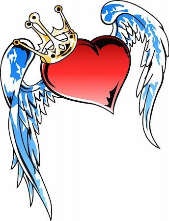 flying hearts clip art - flying heart with crown illustration Stock Photo - Budget Royalty-Free & Subscription, Code: 400-04633005