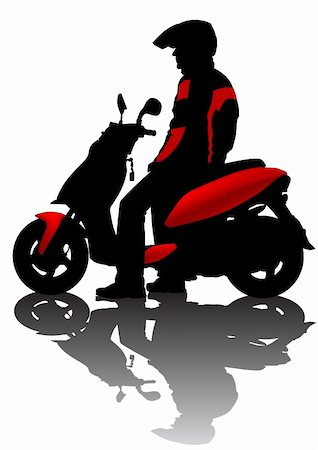 sports scooters - Vector drawing motorcyclist. Silhouette on white background Stock Photo - Budget Royalty-Free & Subscription, Code: 400-04633009