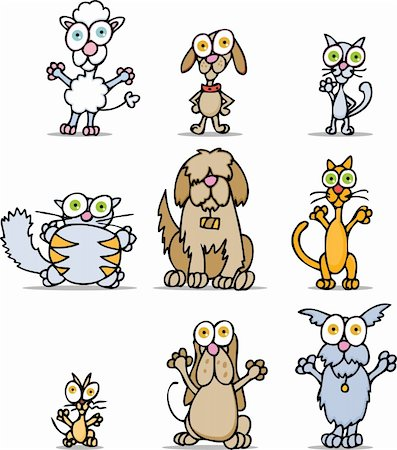 Set of 9 wacky cartoon cats and dogs. Stock Photo - Budget Royalty-Free & Subscription, Code: 400-04645615