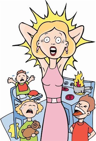Mother is reaching her breaking point at home. Stock Photo - Budget Royalty-Free & Subscription, Code: 400-04645700