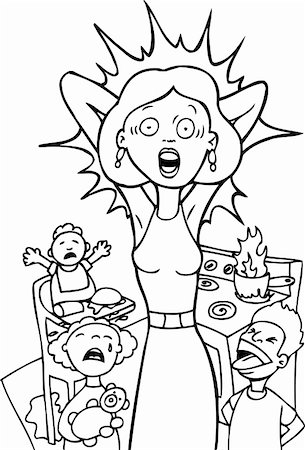 Mother is reaching her breaking point at home - black and white. Stock Photo - Budget Royalty-Free & Subscription, Code: 400-04645701
