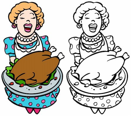 Mom serving turkey isolated on a white background - both color and black / white versions. Stock Photo - Budget Royalty-Free & Subscription, Code: 400-04647646