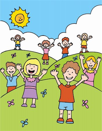 Children with hands raised welcome others. Stock Photo - Budget Royalty-Free & Subscription, Code: 400-04647881