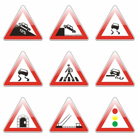 pilgrimartworks - three hundred fully editable vector european traffic signs with details ready to use Stock Photo - Budget Royalty-Free & Subscription, Code: 400-04648983