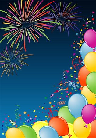 fireworks with yellow and green background - Birthday Frame with Balloon, Fireworks and streamer, element for design, vector illustration Stock Photo - Budget Royalty-Free & Subscription, Code: 400-04649402