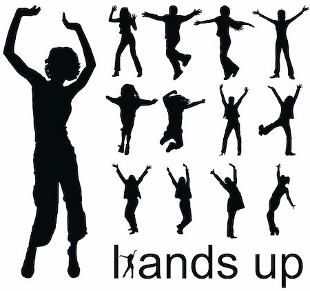 simsearch:400-04222950,k - high quality traced hands up people silhouettes vector illustration Stock Photo - Budget Royalty-Free & Subscription, Code: 400-04640177