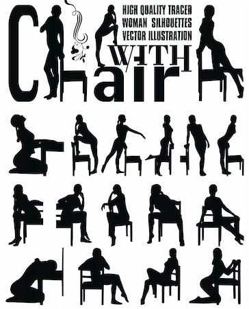 simsearch:400-04222950,k - woman sexy silhouettes with chair vector illustration Stock Photo - Budget Royalty-Free & Subscription, Code: 400-04640185