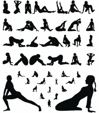 simsearch:400-04222950,k - woman erotic and sporty silhouettes collection vector illustration Stock Photo - Budget Royalty-Free & Subscription, Code: 400-04640186