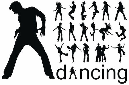 simsearch:400-04222950,k - high quality traced dancing people silhouettes vector illustration Stock Photo - Budget Royalty-Free & Subscription, Code: 400-04640182