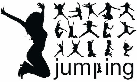 simsearch:400-04222950,k - high quality traced jumping people silhouettes vector illustration Stock Photo - Budget Royalty-Free & Subscription, Code: 400-04640183